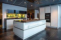 Witte hoogglans eiland keuken, 8 apparaten (Y31)