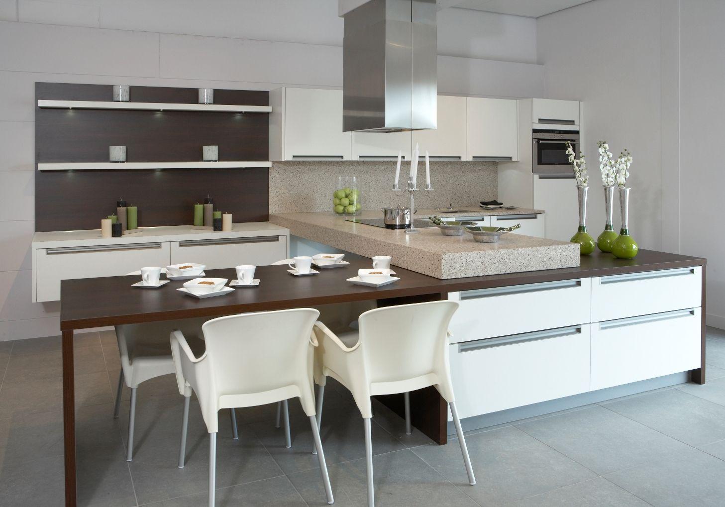 Keuken ontwerp eettafel eiland - Moderne keukentafel ...