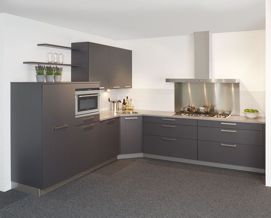 Antraciet Keuken : lage keuken prijzen Hoekkeuken met bovenkasten in antraciet [45598